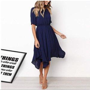 Chic Bohemian Style Navy Blue Midi Dress